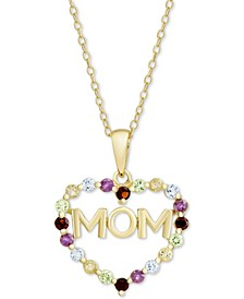 "Multi-Gemstone Mom Heart 18"" Pendant Necklace (7/8 ct. t.w.) in 18k Gold-Plated Sterling Silver"