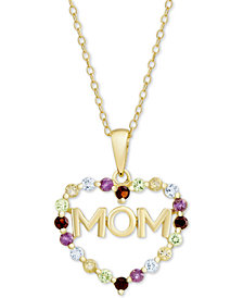 """Multi-Gemstone Mom Heart 18"""" Pendant Necklace (7/8 ct. t.w.) in 18k Gold-Plated Sterling Silver"""