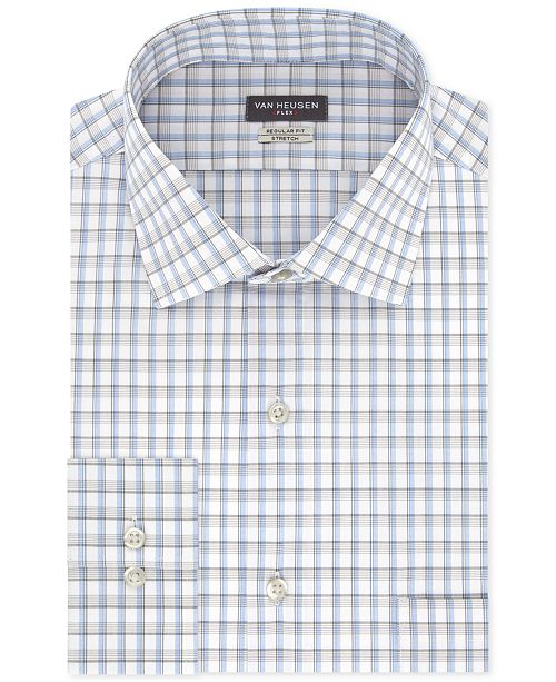 Van Heusen Men's Classic/Regular Fit Stretch Flex Blue Check Dress Shirt
