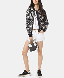 MICHAEL Michael Kors Embroidered Appliqué Mesh Bomber Jacket