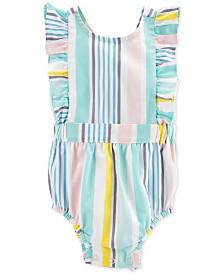 Carter's Baby Girls Multicolor Striped Flutter Romper