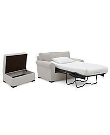 "Astra 59"" Fabric Chair Bed & 36"" Fabric Storage Ottoman Set, Created for Macy's"