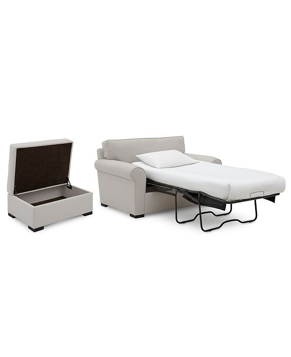 """Furniture Astra 59"""" Fabric Chair Bed & 36"""" Fabric Storage Ottoman Set, Created for Macy's"""