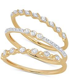 3 Pc. Set Diamond Stack Rings (1/6 ct. t.w.).