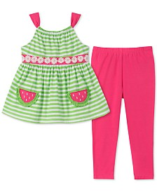 Kids Headquarters Little Girls 2-Pc. Striped Tunic & Leggings Set