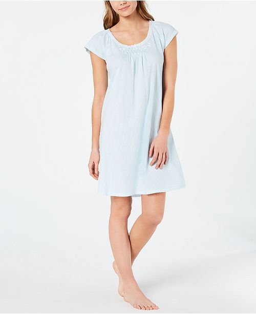 Miss Elaine Cottonessa Embroidered Knit Nightgown