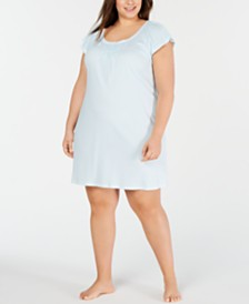 Miss Elaine Plus-Size Cottonessa Stripe-Print Knit Nightgown