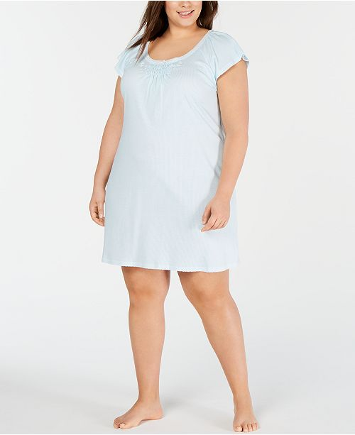 Miss Elaine Plus-Size Cottonessa Stripe-Print Knit Nightgown