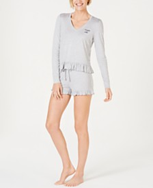 Jenni by Jennifer Moore Ruffled Long-Sleeve Top and Shorts Sleep Separates, Created for Macy's