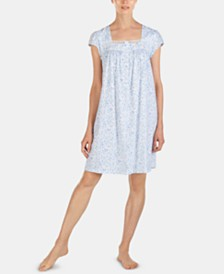 Eileen West Printed Satin & Mesh Lace Trim Short Cotton Nightgown