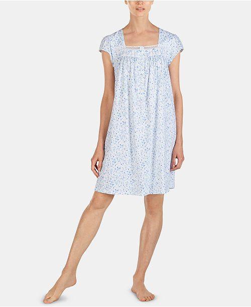 Eileen West Printed Satin & Mesh Lace Trim Short Cotton Nightgown