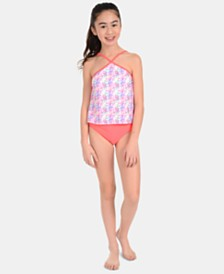 Calvin Klein Big Girls 2-Pc. Printed Tankini Swimsuit