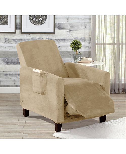 Great Bay Home Fashions Solid Velvet Plush Form Fit Stretch Recliner Slipcover