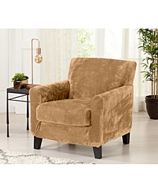2 Piece Velvet Plush Solid Chair Slipcover