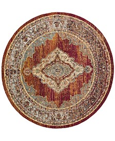 Safavieh Crystal Orange and Light Blue 5' x 5' Round Area Rug