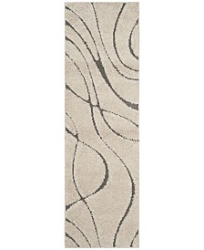 "Safavieh Shag Cream and Grey 2'3"" x 7' Runner Area Rug"