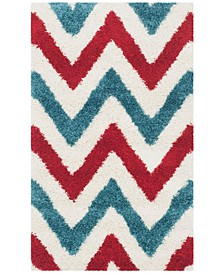 Shag Kids Ivory and Red 3' x 5' Area Rug
