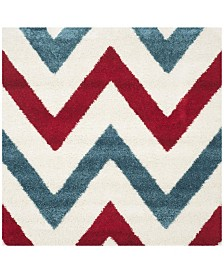 "Safavieh Shag Kids Ivory and Red 6'7"" x 6'7"" Square Area Rug"