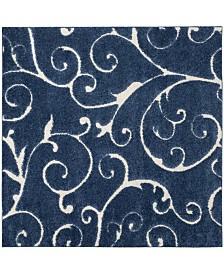 "Safavieh Shag Dark Blue and Cream 6'7"" x 6'7"" Square Area Rug"