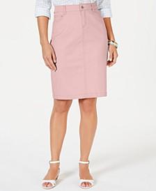 Petite Denim Tummy-Control Skirt, Created for Macy's