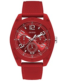 GUESS Men's Red Silicone Strap Watch 46mm