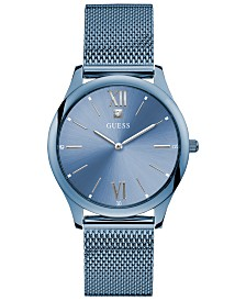 GUESS Men's Holmes Diamond-Accent Blue Stainless Steel Mesh Bracelet Watch 40mm