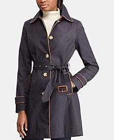 Faux-Leather-Trim Water Resistant Trench Coat