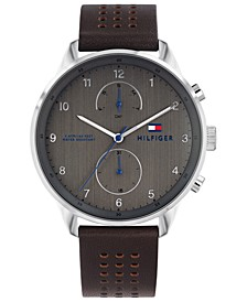 Men's Brown Leather Strap Watch 44mm Created for Macy's