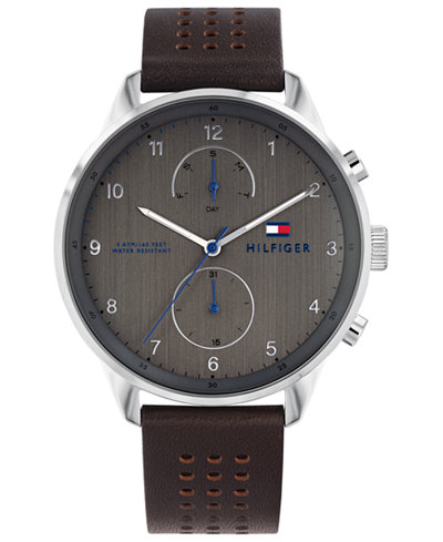 Tommy Hilfiger Men's Brown Leather Strap Watch 44mm Created for Macy's