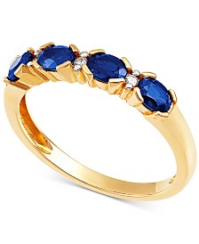 Sapphire (7/8 ct. t.w.) & Diamond Accent Ring in 14k Gold