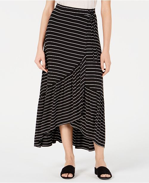 American Rag Juniors' Striped Flounce Maxi Skirt, Created for Macy's