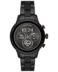 Michael Kors Access Unisex Runway Black IP Stainless Steel and Black Silicone Bracelet Touchscreen Smart Watch 41mm