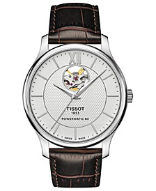 Men's Swiss Automatic T-Classic Tradition Brown Leather Strap Watch 40mm