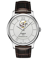 df6b030a99c Tissot Men s Swiss Automatic T-Classic Tradition Brown Leather Strap Watch  40mm