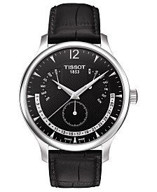 Tissot Men's Swiss T-Classic Tradition Black Leather Strap Watch 42mm