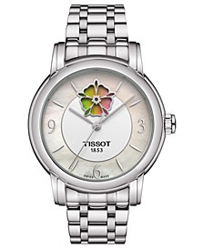Women's Swiss Automatic T-Lady Heart Flower Stainless Steel Bracelet Watch 35mm