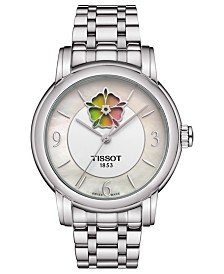 Tissot Women's Swiss Automatic T-Lady Heart Flower Stainless Steel Bracelet Watch 35mm