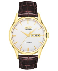 Tissot Men's Swiss Automatic Heritage Visodate Brown Leather Strap Watch 40mm