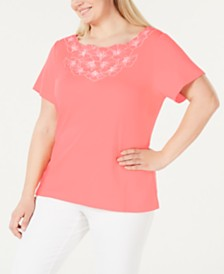 Karen Scott Plus Size Floral T-Shirt, Created for Macy's