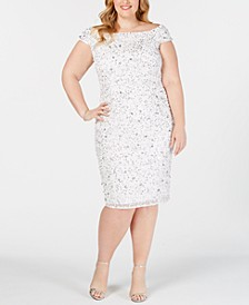 Plus Size Off-The-Shoulder Beaded Sheath Dress