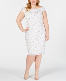 Adrianna Papell Plus Size Off-The-Shoulder Beaded Sheath Dress