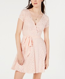 B Darlin Juniors' Lace Wrap Dress