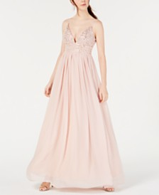 Speechless Juniors' Embellished Chiffon Gown