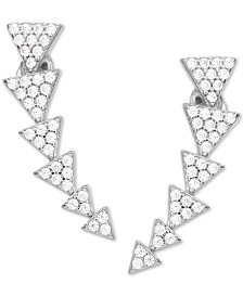 Cubic Zirconia Graduated Triangle Ear Climbers in Sterling Silver