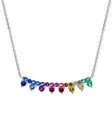 "Cubic Zirconia Rainbow Collar Necklace in Sterling Silver, 16"" + 2"" extender"
