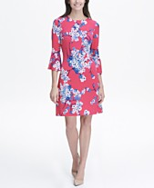7389f140430 Tommy Hilfiger Printed Jersey Bell Sleeve A-line Dress