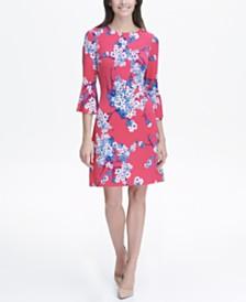 bfbdcafaf849ec Tommy Hilfiger Printed Jersey Bell Sleeve A-line Dress