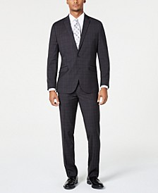 Men's Ready Flex Slim-Fit Stretch Bold Charcoal Plaid Suit