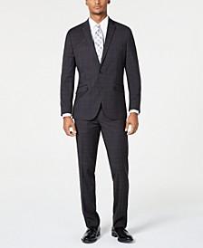 Men's Ready Flex Slim-Fit Stretch Plaid Suits