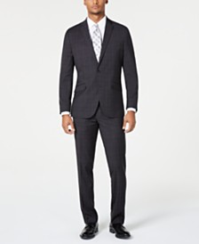 Kenneth Cole Reaction Men's Techni-Cole Slim-Fit Stretch Bold Charcoal Plaid Suit